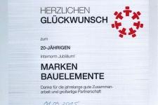 Internorm Jubiläumsurkunde zum 20-jährigen Jubiläum 2015 - MARKEN Bauelemente