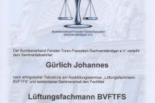 BVFTFS Lüftungsfachmann 2017 - Hr. Gürlich