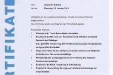 """SIGA """"Fenster-Anschluss-Training"""" 2019 Hr.  Johannes Gürlich"""